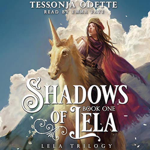 Shadows of Lela book cover, illustrated girl in red cape on white unicorn